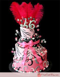 Zebra Print Sweet 16 Cake by Pink Cake Box in Denville, NJ.  More photos at http://blog.pinkcakebox.com/zebra-print-sweet-16-cake-2011-10-13.htm  #cakes
