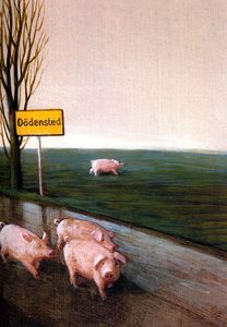 We Want No Pigs in Dodensted (detail) - Michael Sowa Michael Sowa, Pig Illustration, Illustrations, Surrealism Painting, Modern Surrealism, Pig Art, Japanese Cartoon, Art Database, Surreal Art