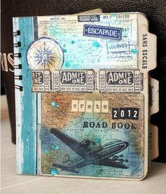 cahier de voyage, avion dans le ciel, billet d'avion