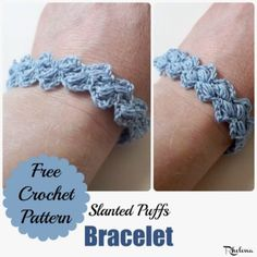 Slanted Puffs Bracelet - free crochet pattern by CrochetN' Crafts for Stitches 'N' Scraps