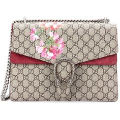 Gucci Dionysus Supreme Medium Blooms Embroidery Shoulder Bag (166,695 INR) ❤ liked on Polyvore featuring bags, handbags, shoulder bags, multicoloured, shoulder hand bags, embroidery handbags, embroidery purse, brown handbags and shoulder bag handbag