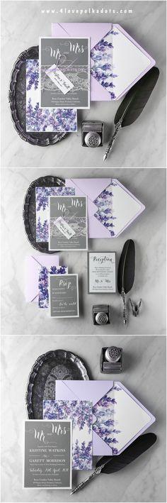 Watercolor lavender wedding invitations #4lovepolkadots #wedding #weddinginvitations #lavender #lavenderwedding #weddingideas #pastelwedding #rusticwedding