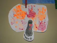 foot and hand print turkeys