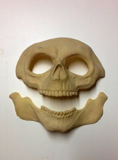 Skull latex prosthetic appliance (unpainted) which can be glued to the face using spirit gum, Prosaide or any other prosthetic adhesive. One size