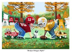 Image detail for -Tennessee vs. Alabama Backyard Braggin Rights Football Art Print Alabama College Football, Tennessee Volunteers Football, Tennessee Football, Oregon Ducks Football, Notre Dame Football, Football Art, Collage Football, Football Stuff, American Football