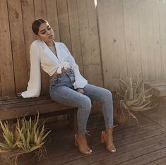 Shades of White | Tied Button down Blouse, Distressed Jeans, Chestnut Chunky heels