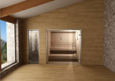 Sauna with glass front and shower in Mosaic.