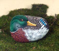 Mallard duck hand painted on rock by Livingrocks on Etsy, €24.00