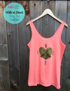 It's so much fun and easy making custom tshirts and tank tops on the Cricut Explore. This DIY Wild at Heart tank top is perfect for a summer day! Cut photo and step by step instructions included in this great tutorial. Tank Top Tutorial, Shirt Tutorial, Do It Yourself Organization, Cut Photo, Mommy Style, Cricut Creations, Cover Pics, Wild Hearts, Vinyl Projects