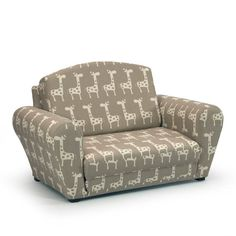 Stretch Maple/Natural Sleepover Sofa with Giraffe Print - Kids Upholstered Sofas at Hayneedle