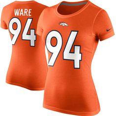 Women's Denver Broncos DeMarcus Ware Nike Orange Player Name & Number T-Shirt