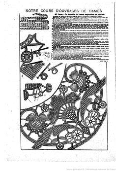 """68th leçon: Les Dentelles de Venise reproduite au crochet. Les Dimanches de la femme : supplément de la """"Mode du jour"""" 1925/08/23 (A4,N181)."""