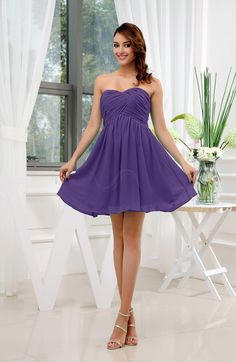 Dark Purple Simple Sleeveless Zip up Short Ruching Party Dresses