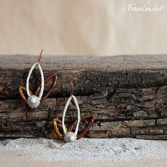 Earrings. Hemp twine, sand and pebble.   Handamade by FossalonArt