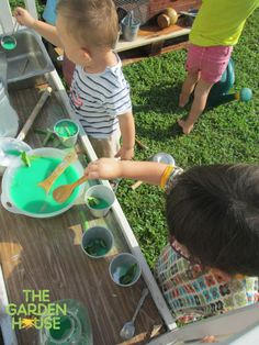 The children love our outdoor mud kitchen... on today's menu, green soup with a little bit of our garden lol! #mudkitchen #children #preschool #playbasedlearning #outdoorplay #Singapore