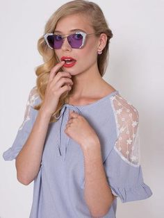 Blue Effect Marbled Frame Sunglasses Sunglass Frames, Ss16, Cat Eye Sunglasses, 1950s, Blue, Collection, Fashion, Moda, Fashion Styles