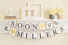 Engagement Party Decor, Gold Glitter Wedding, Soon to Be Banner, Engagement Party Ideas, Couples Shower, Glitter Gold Bridal Shower, B203