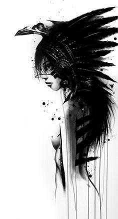 sentarse nativa india americana pintura de desnudo artístico atractivo diseño de estilo moderno en blanco y negro