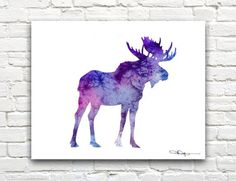 watercolor moose tattoo - Google Search