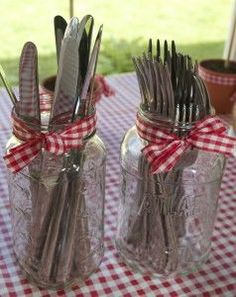Mason jar silverware holder I did this and it was as cute as it looks!!