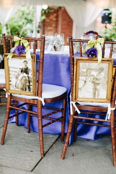 This couple displayed their baby photos on the back of their dinner chairs.Photo by: Katie Stoops Photography/Created by: Karson Butler Events
