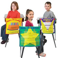 Celebration Chair Covers Set - Set of 3.  $9.99 I might think about making the birthday one.  Even 5th graders would like this.