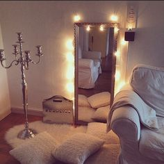 Bedroom mirror & shag rug with twinkle lights!! But the floor-lamp candelabra though..... I want it!!
