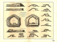Fort Sumter map and cross section 1865