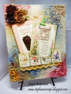 Burlap Panel, Graphic45 papers, Tattered Angels sprays, May Arts ribbon, Stencils