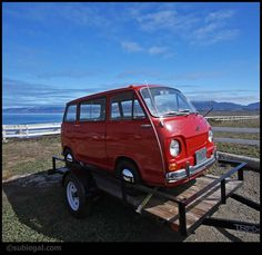 Red Subaru 360 on Trailer