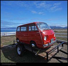 Red Subaru 360 on Trailer