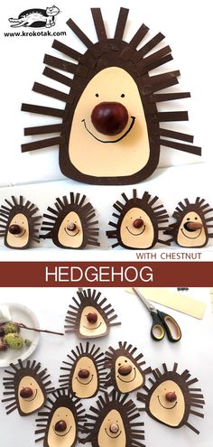 Hedgehog (with chestnut) - # hedgehog # chestnut - Fall Crafts For Kids Kids Crafts, Fall Crafts For Toddlers, Toddler Crafts, Diy For Kids, Arts And Crafts, Paper Crafts, Autumn Activities, Activities For Kids, Hedgehog Craft