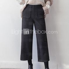 Women's Wide Leg Chinos Pants,Casual/Daily Holiday Vintage Simple Solid Mid Rise Elasticity Cotton Micro-elastic Fall Winter - USD $19.99 ! HOT Product! A hot product at an incredible low price is now on sale! Come check it out along with other items like this. Get great discounts, earn Rewards and much more each time you shop with us!