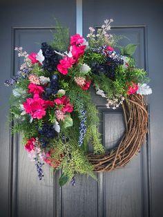 Spring Wreath Pink Blue Wreaths Spring Door Wreath Pink Blue Flowers Spring Decor Gift for Her Housewarming Gift New Home Gift Spring Gift Pink And Blue Flowers, Pink Blue, Spring Door Wreaths, Spring Design, Warm Spring, New Home Gifts, Grapevine Wreath, Grape Vines, House Warming