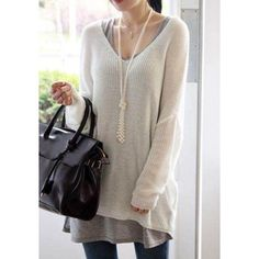 Stylish Women's V-Neck Loose-Fitting Dolman Sleeve Sweater