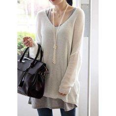 Stylish Women's V-Neck Loose-Fitting Dolman Sleeve Sweater