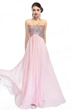 Cute A-Line Sweetheart Natural Train Chiffon Pink Sleeveless Key Hole Evening Dress with Crystals COKT14004