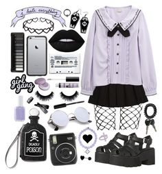 """Purple pastel goth"" by pastelprincess152 ❤ liked on Polyvore featuring Diane Von Furstenberg, Current Mood, Urbiana, Curiology, Lime Crime, Fuji, Essie, NYX, Sydney Evan and Chanel"