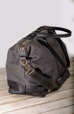 Storm Linen Weekender w/ Black Leather at Veeshee.com. #veeshee