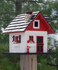 Mark already had drawn plans to make a birdhouse that looked like Bliss Cottage! Mark already had drawn plans to make a birdhouse that looked like Bliss Cottage! Bird Houses Painted, Bird Houses Diy, Fairy Houses, Bird House Feeder, Bird Feeders, Bird House Plans, Bird Boxes, White Cottage, Cozy Cottage