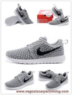 new product df314 6194d scarpe calcio Uomo Nike Flyknit Roshe Run 677243-006 Carbone  chiaro Ossidiana scuro-Grigio lupo
