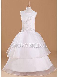 White Sleeveless Long Organza Beaded Ball Gown Fairy Flower Girl Dress - US$ 85.99 - Style FD1742 - Snowy Bridal