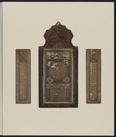 """""""Hilye, or calligraphic panel containing a physical description of the Prophet Muhammad, was made in 1130/1718 in the Galata Palace (Saray Galata), Istanbul, by the calligrapher Dihya Salim al-Fahim (This is a mistake in reading the Arabic description which says: """"كتبه وذهَّبه: سُلَيم الفهيم"""", That mean: """"Wrote and decorate it: Sulaim al-Fahim"""", a pupil of Yusuf Efendi. This hilye, mounted on a wooden borard is unusual in having two side panels, similar to a Christian triptych."""" (contd...)"""