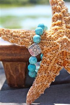 Turquoise Stretch Bracelet with Charm.