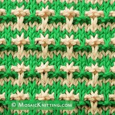 Maltese Cross Mosaic knit stitch. Easy 2 color pattern for new or inexperienced knitters