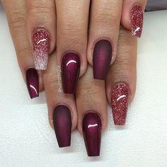 Matte And Glitter Nails
