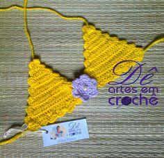 Sutiã de Biquíni de Crochê Infantil, feito em 2 CORES, by Dê Artes em Crochê.