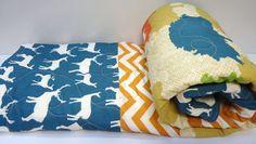 Modern Baby Quilt-Organic Rustic Baby Boy Bedding-Birch Fabric-Chevron-Teal-Orange-Woodland Animal-Elk-Deer Baby Blanket