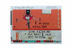 """Curly Girl """"I Am Fairly Certain That Given a Cape and a Nice Tiara, I Could Save the World."""" Laptop Skin Fits up to 15"""" Lapto..."""