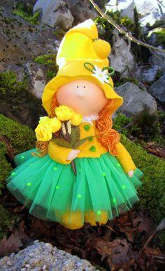CLOTH DOLL bright yellow girl-gnome от NICEDOLLSANDRABBITS на Etsy